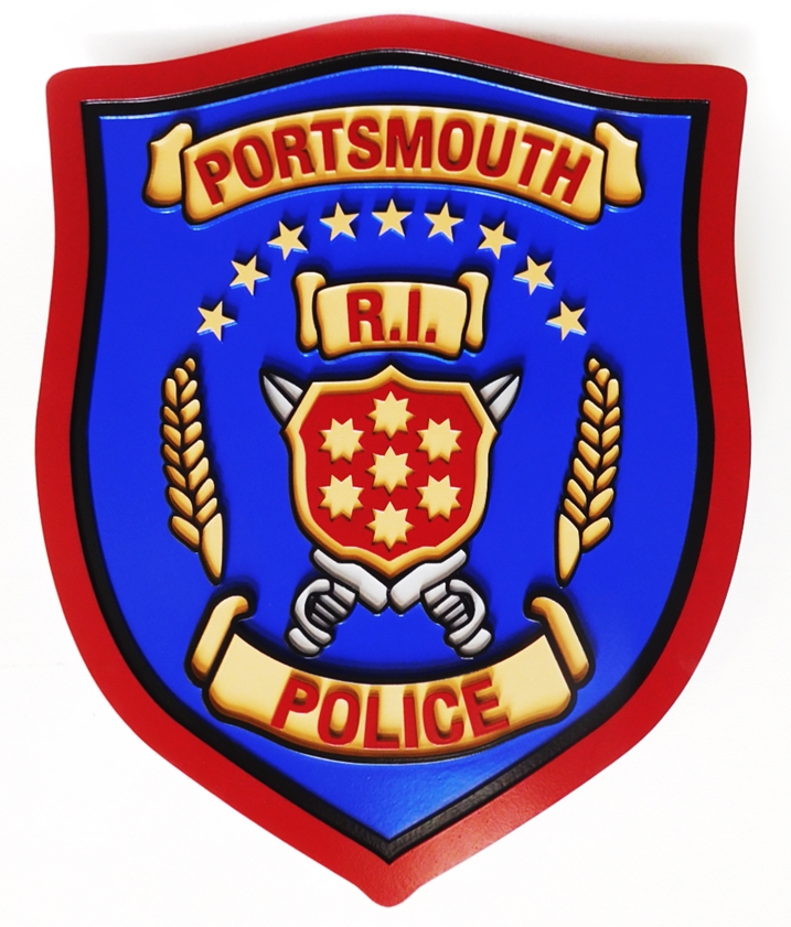PP-2056 - Carved Plaque of the Shoulder Patch of the Portsmouth Rhode Island  Police, 2.5-D Artist-Painted