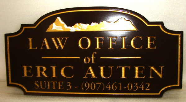 A10003- Gold-Leaf and Black Engraved Wood  Law Office Sign with Mountains