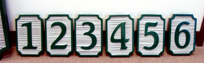 KA20871 - Carved HDU Unit Number Signs, with Sandblasted Wood Grain Texture