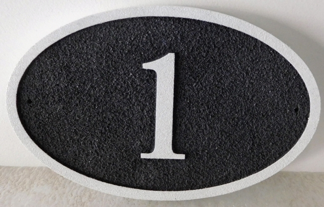 I18875 - Elliptical  Carved and Sandblasted House Number Plaque with Border