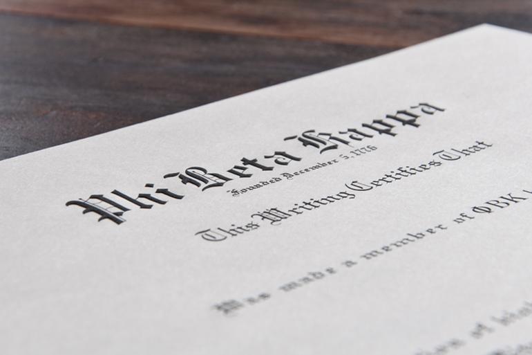 Phi Betta Kapa Certificate