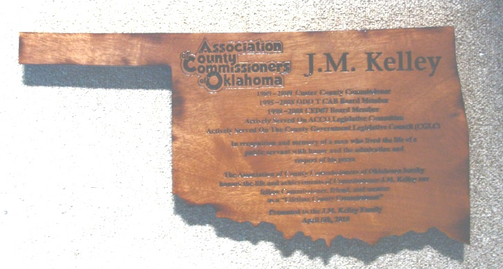 W32415 - Carved Cedar Wall Plaque in the Shape of the State of Oklahoma