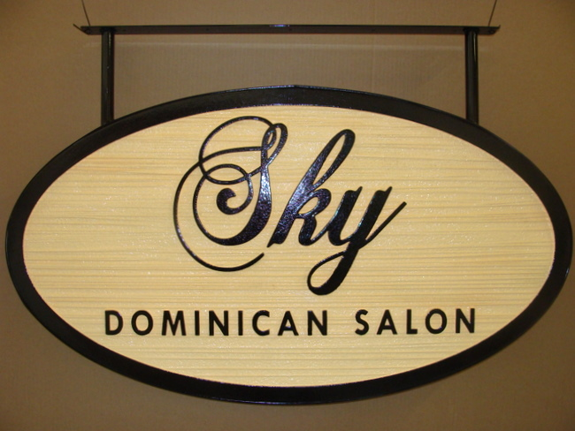 "SA28431 - Decorative Wood-Grain  Hanging Sign for ""Skye Dominican""  Hair Salon"