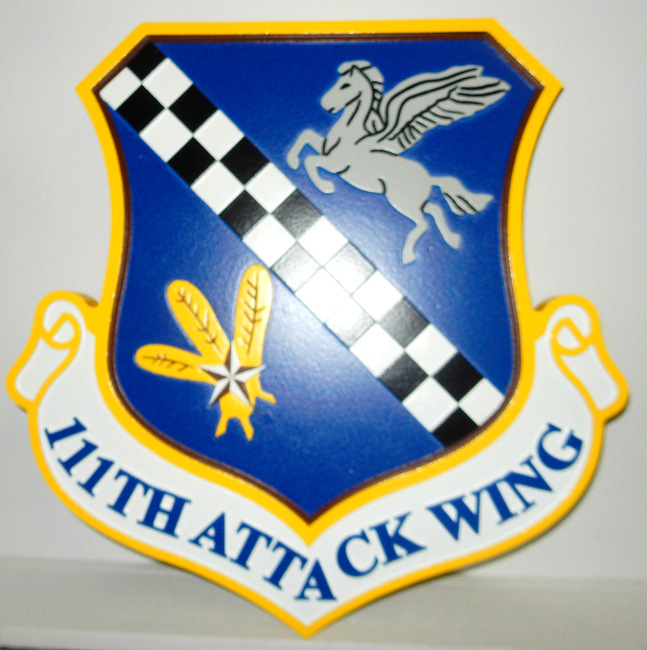 LP-2220 - Carved Shield Plaque of the Crest of the 111th Attack Wing, Artist Painted