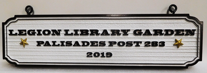 "GA16546 -  Carved High-Density-Urethane (HDU)  ""Legion Library Garden"" Hanging  Sign Donated by American Legion Palisades  Post  283"