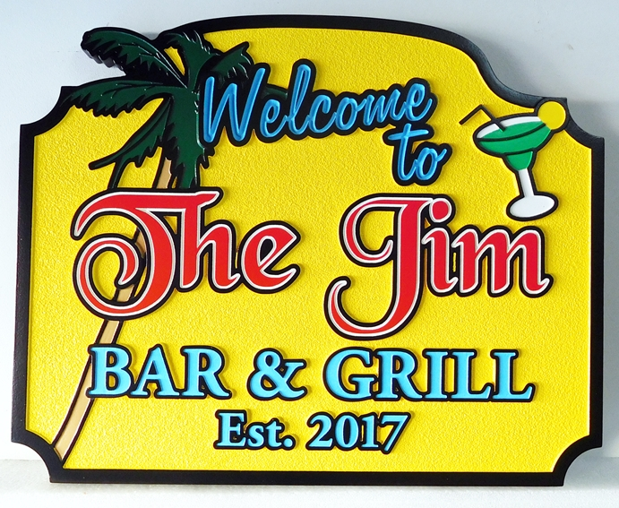 L21955 - Carved and Sandblasted Bar and Grill Sign, with Palm Tree and Cocktail Glass as Artwork