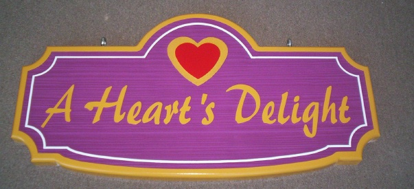 SA28325 - Colorful  Sign with Raised and Engraved Heart for Retail Store.