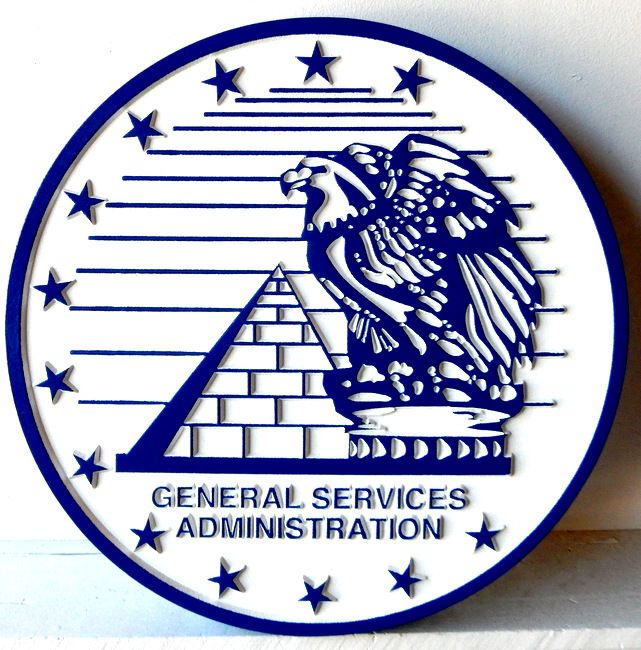 AP-6660 - Carved Plaque of the Seal of the US General Services Administration (GSA), Artist Painted