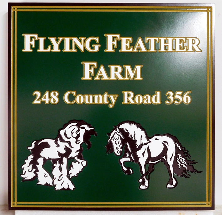P25340 - Carved High Density Urethane Sign for Horse Farm specializing in Norwegian Breeds