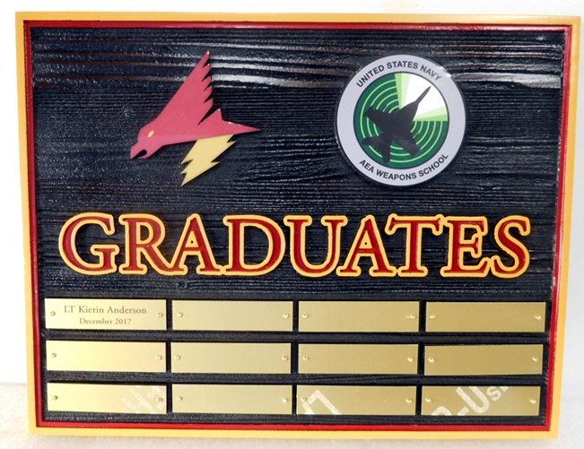 JP-2530 - Graduation  Board for the Navy Area Weapons School, Cedar Wood with Insignia and Engraved Brass Plates