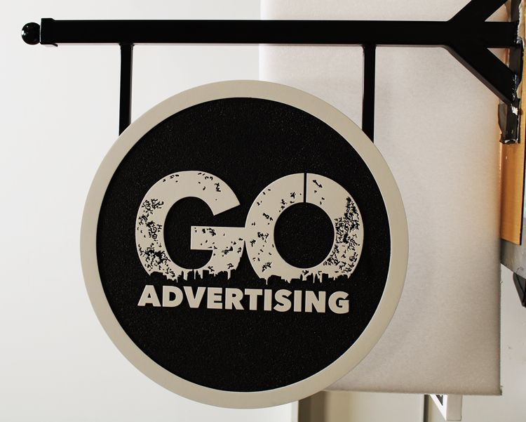 "SA28813 - Carved High-Density-Urethane  Sign and Wrought Iron Bracket for the ""GO Advertising"" Company"