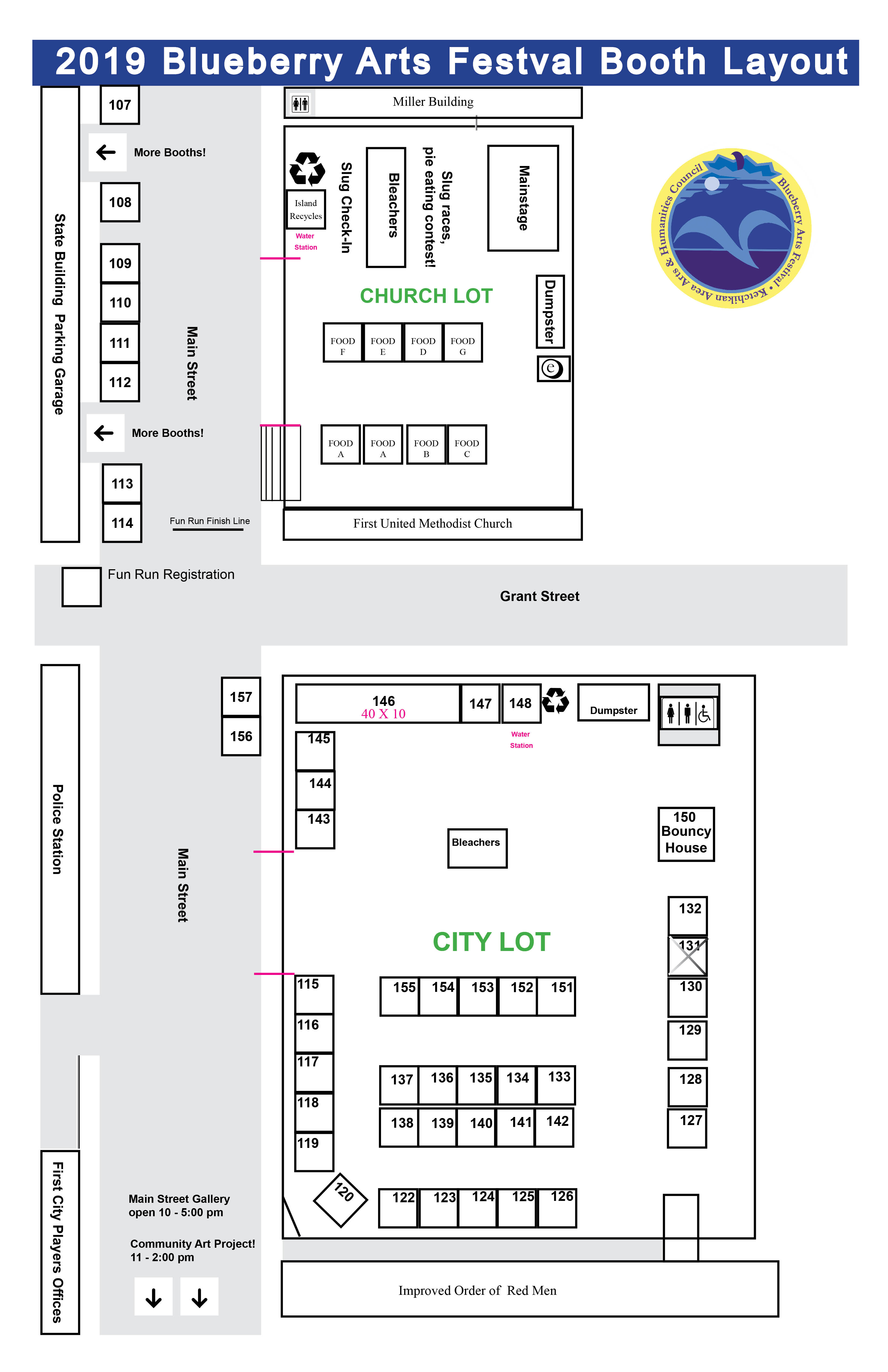2019 City & Church Parking Lot Booth Layout Map