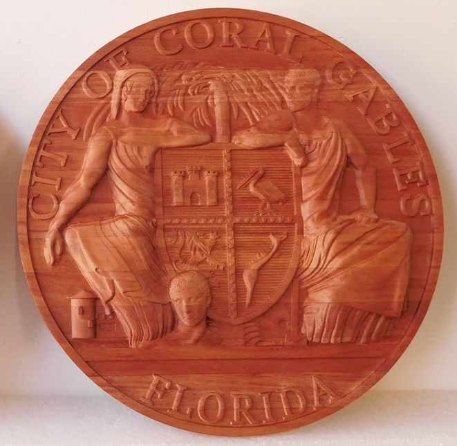 X33032 - Carved 3-D Stained African Mahogany Wall Plaque of the Seal of Coral Gables, Florida