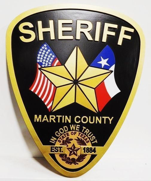 X33755 - Carved 2.5-D Plaque of the Shoulder Patch forthe Sheriff of Martin County, Texas