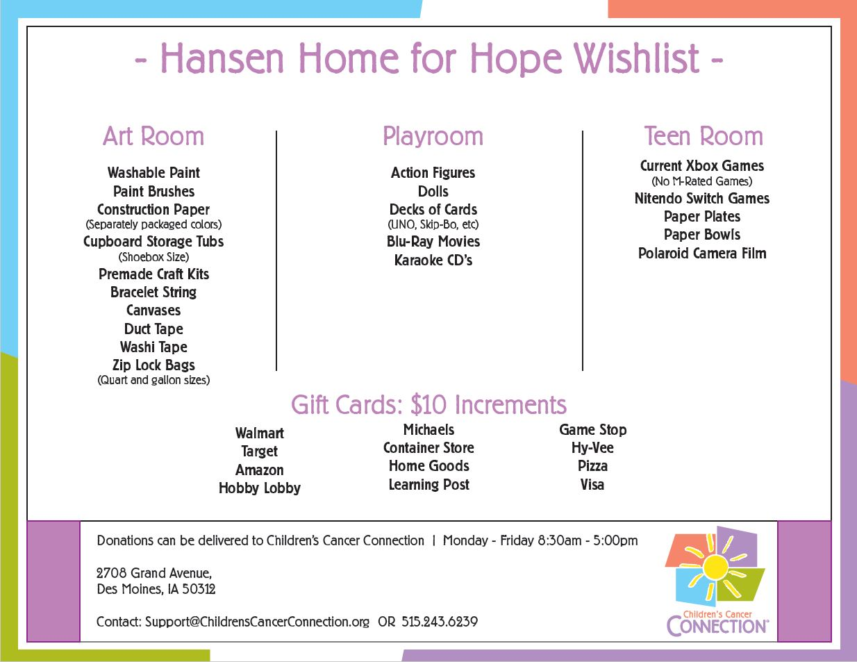 Hansen Home for Hope Wish List