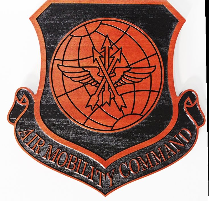 LP-1669 - Carved Plaque of the Crest of the Air Mobility Command, 2.5-D Mahogany