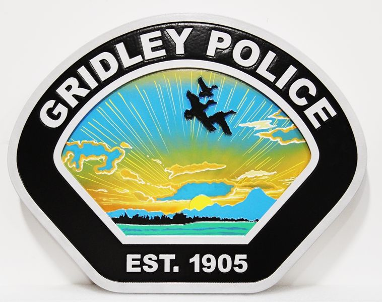 PP-2160 - Carved 2.5-D Artist-Painted Wall Plaque of the Shoulder Patch of the Police Department of Gridley, California