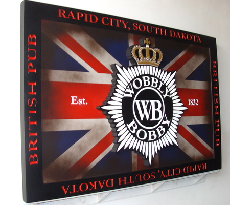 "Y27531 - Carved Wood British Pub Sign with Union Jack Flag and ""Wobbly Bobby"""
