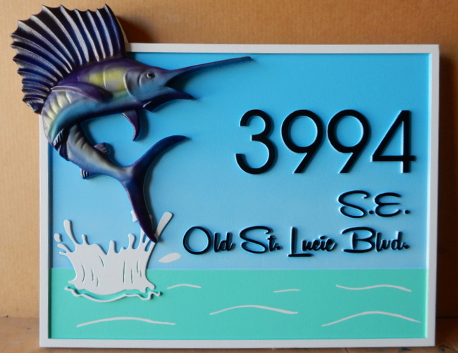 L21366 - Waterfront Address Sign with Splashing Water and Jumping Sailfish