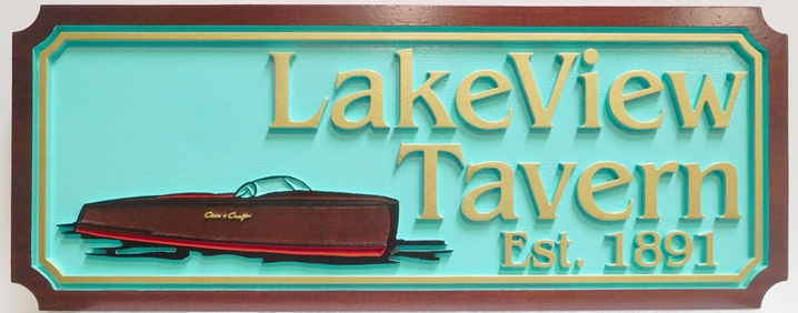 M22505 - Carved  HDU Lake View Tavern Sign, 2.5-D Artist-Painted with classic Mahogany Chris-Craft Speedboat as Artwork