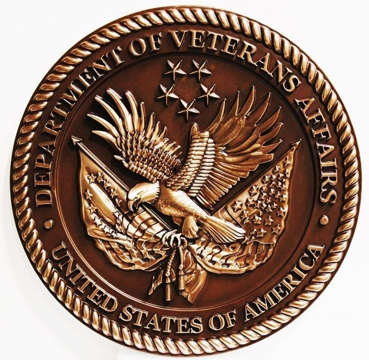 U30284- Carved 3-D Bas-Relief Bronze-Plated High-Density-Urethane (HDU) Wall Plaque of the  Seal of the US Department of Veteran's Affairs
