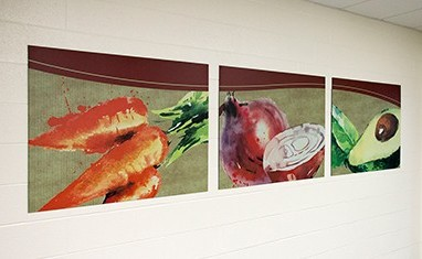 Set of food art murals in school hallway, watercolor images of food, custom signs
