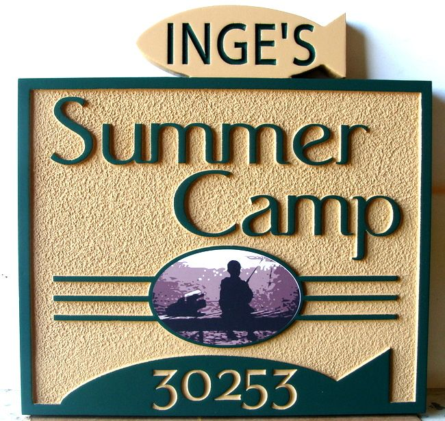 G16317 - Sign for Summer Camp with Carved Fish and Image of Boy Fishing