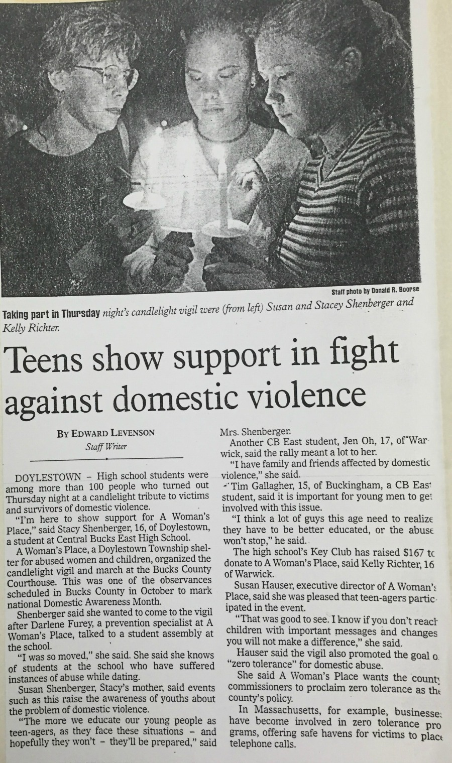 Teens show support in the fight against domestic violence at AWP's Candlelight Vigil.
