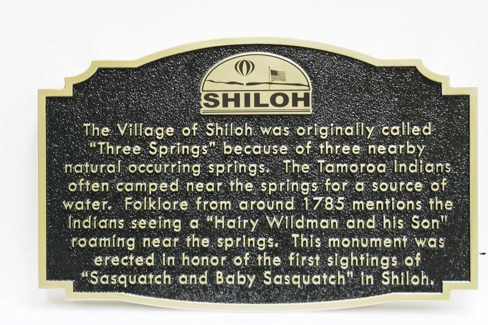 F15902 - Carved and Sandblasted HDU  Historical Marker Sign  for the Village of Shiloh