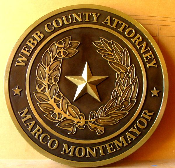 M7158 –  Carved Brass-Coated Wall Plaque for the Webb County Attorney in Texas