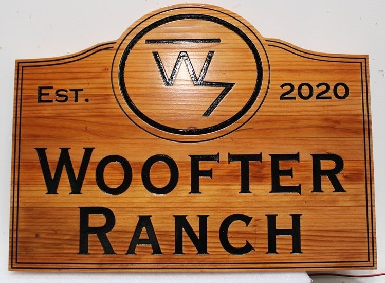 O24934 -  Carved and Engraved Redwood Entrance Sign for the Woofter Ranch, with its Brand as Artwork