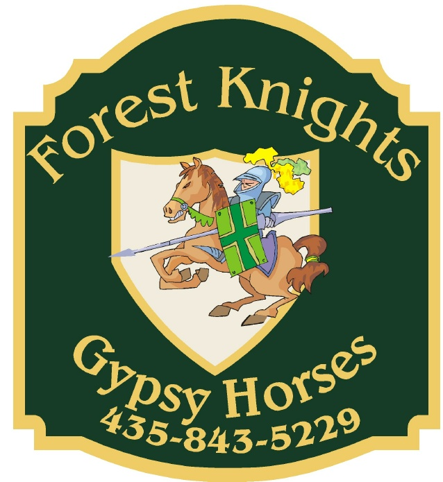 "P25064 - Design of a Carved HDU Sign ""Forest Knights Gypsy Horses"" with Phone Number"