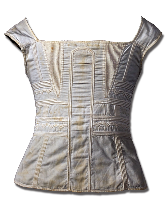 Corset, maker unknown, made in Britain, United Kingdom, circa 1820, 17.5 x 13 in, IQSCM 2006.030.0002