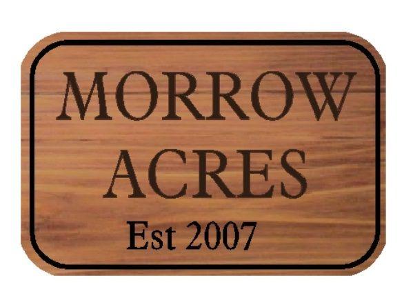 O24910 - Engraved Cedar Sign for Morrow Acres Farm