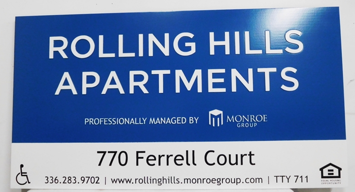 "K20329 - Carved & Engraved HDU Sign,  for the ""Rolling Hills"" Apartments"