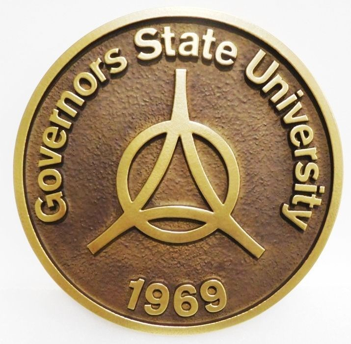 RP-1190 - Carved and Sandblasted Plaque of the Seal of Governor's State University, 2.5-D Raised Relief, Brass-Plated