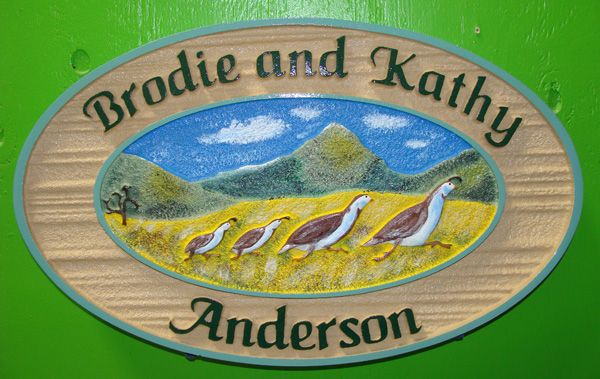O24634 - Carved California Quail Family Sign with Names of Owners