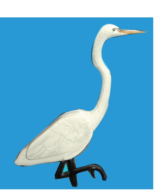 L21631- 3-D Bas-Relief  Carving of a Standing Egret , An Applique Mounted on a Large Entrance Sign for a Park