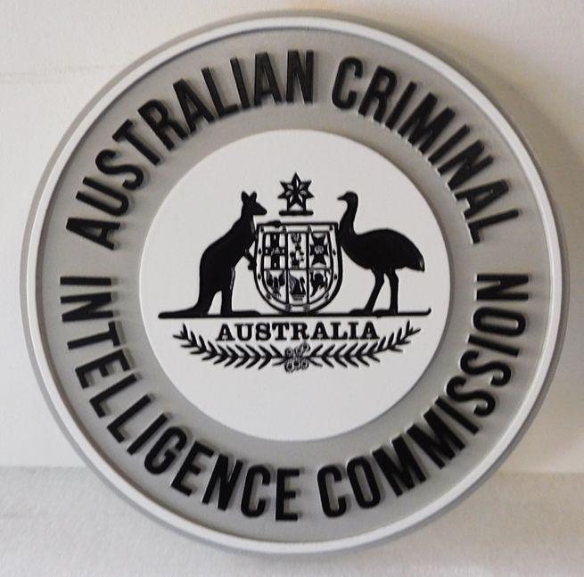 X33764 - Carved 2.5-D HDU Plaque of the Sealof the Australian Criminal Intelligence Commission