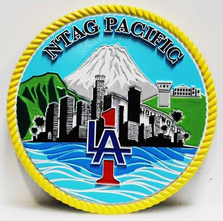 JP-2360 - Carved 2.5-D HDU Plaque of the Crest of of the Navy Talent Acquisition Group (NTAG) Pacific