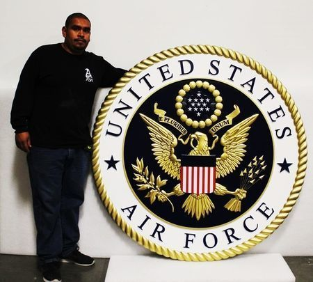 LP-1067 - Large Carved Plaque of the Emblem of the US Air Force, 3-D  Artist-Painted