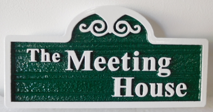 "FA15589 - Carved and Sandblasted Wood Grain  Identification Sign  ""The Meeting House"""