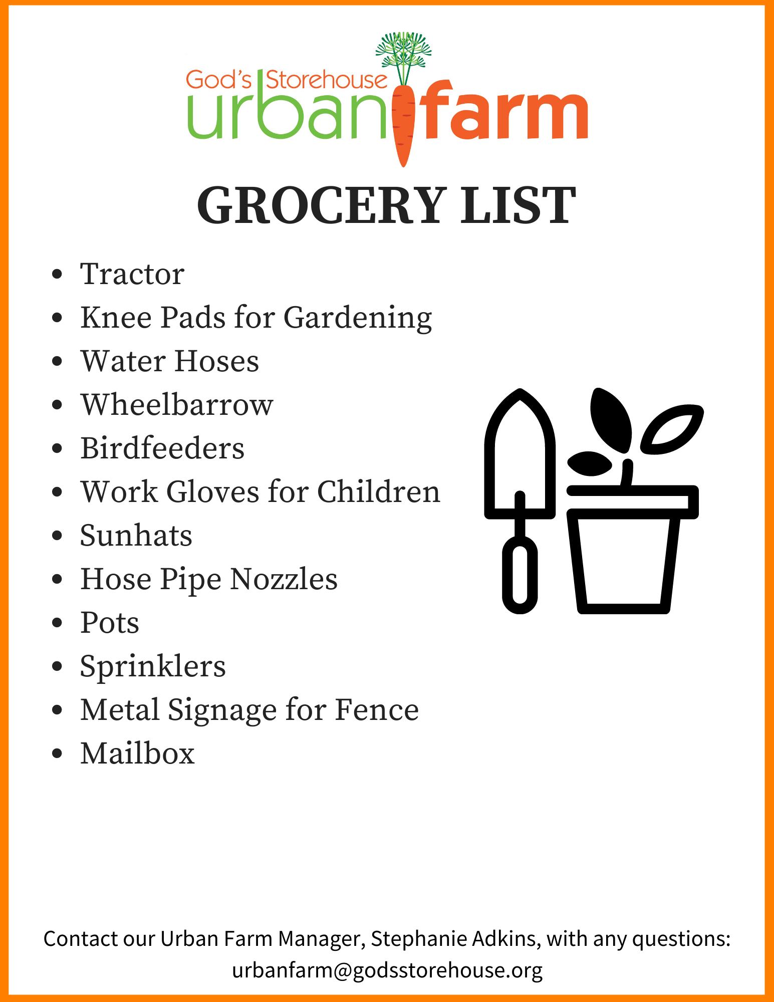 Urban Farm Grocery List