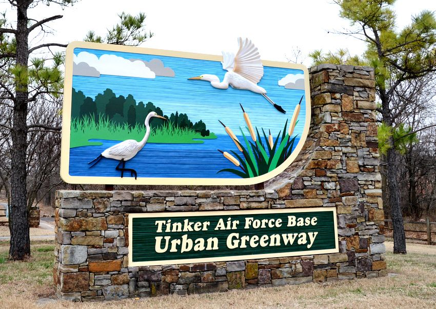 G16200 - Entrance Sign to Tinker AFB Greenway Belt Park, with Egrets and Lake Scene