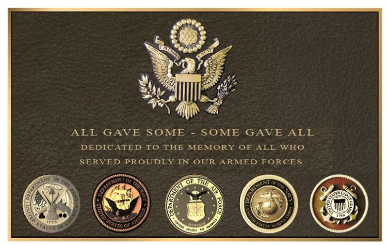 """GC16820-  Brass Wall Plaque Honoring the Men and Women Who Served in the US Armed Forces """"All Gave Some, Some Gave All"""", with Five Service Seals and US Great Seal Eagle"""