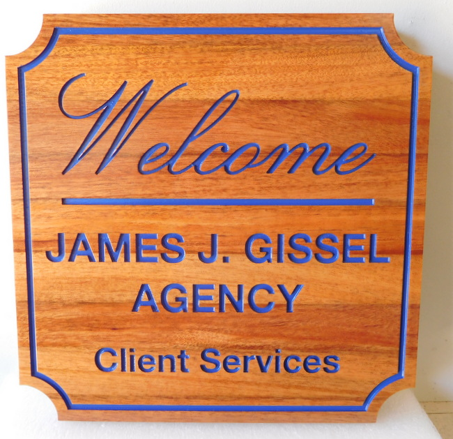 C12084 - Natural Cedar Welcome Office Sign, Engraved, for James Gissel Agency