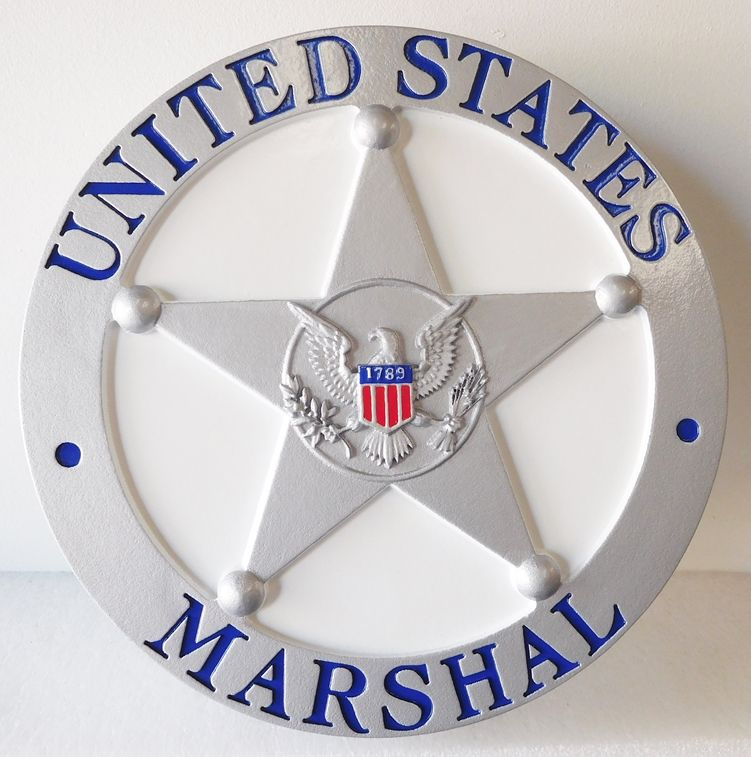 U30384 -  Carved  High Density Urethane (HDU) Wall Plaque Featuring the Badge of the US Marshall Service , with 3-D  Eagle