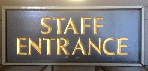 F15530 - Carved, Wood Staff Entrance Sign with Bas-Relief, 24K Gold Gilt Lettering