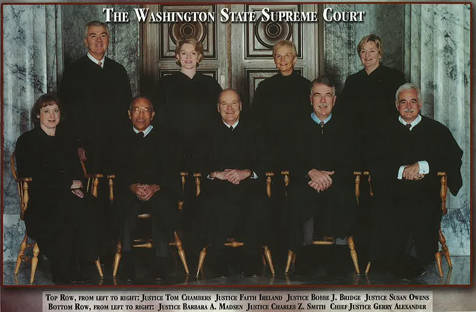 Justice Bridge and the other members of the Washington State Supreme Court, 2002.