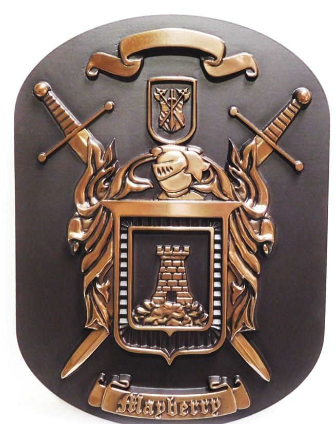 M7021- 3-D Bronze-platedPlaqueof a Family Coat-of-Arms, with Crossed Swords and  Castle.